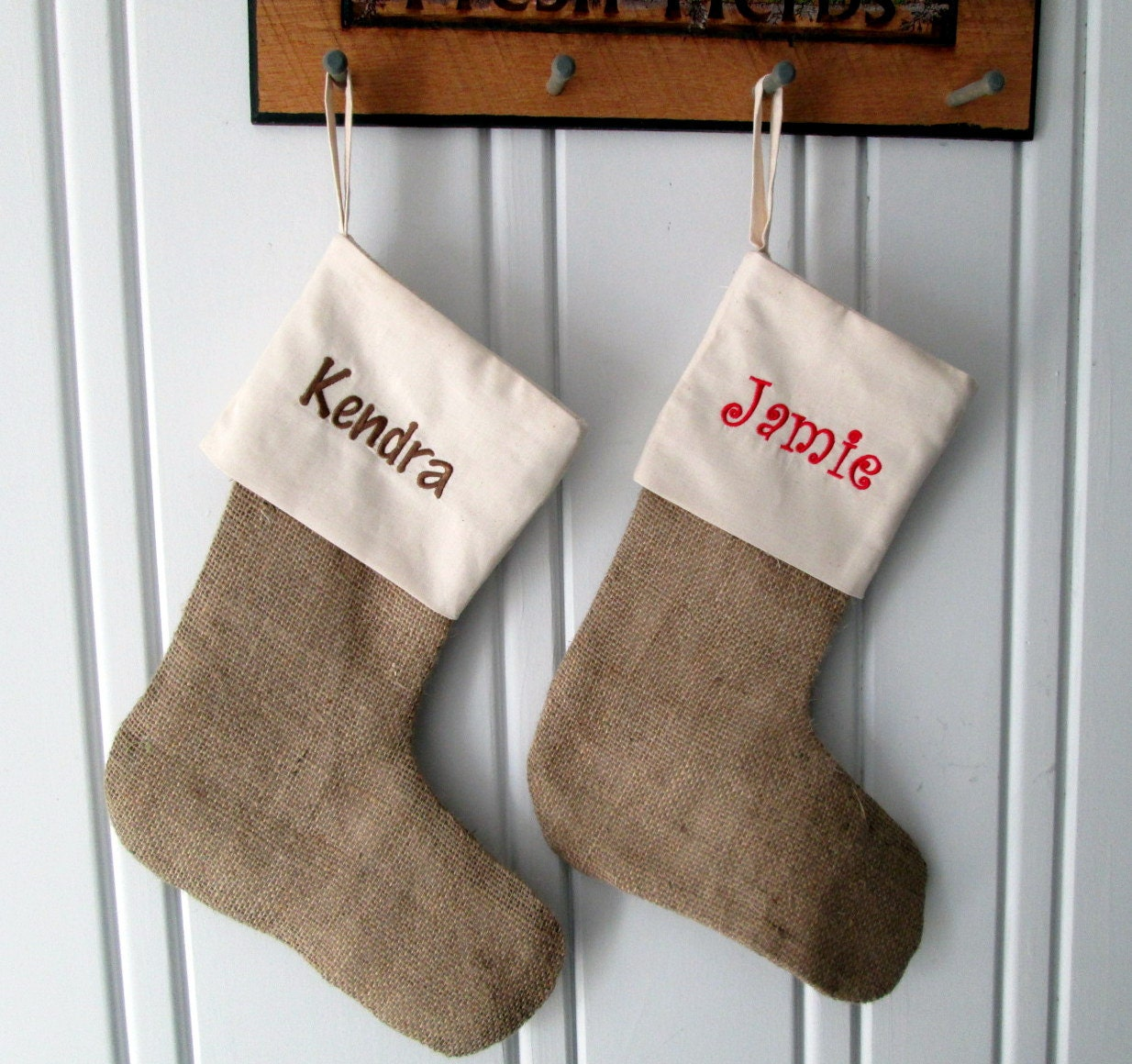 personalized burlap muslin christmas stocking by