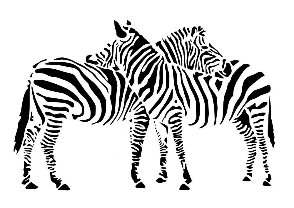 In love Zebras Handmade Original Papercut First Anniversary Paper Gift: Hand-Cut Paper Art Silhouette