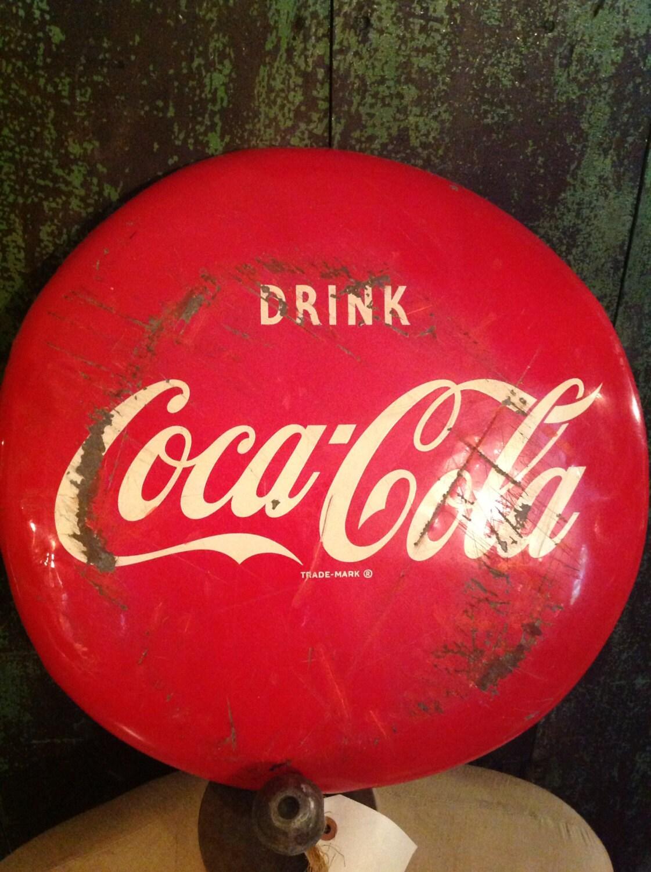 vintage original coke coca cola button 1951 dated tin gas station advertising - TexasJunkLady