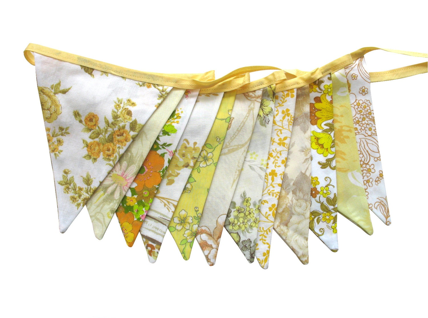 Vintage Retro Yellow / Lemon & Mustard Floral Flag Bunting. Shabby Chic Party Decoration. Wall hanging Pennant OOAK - MerryGoRoundHANDMADE