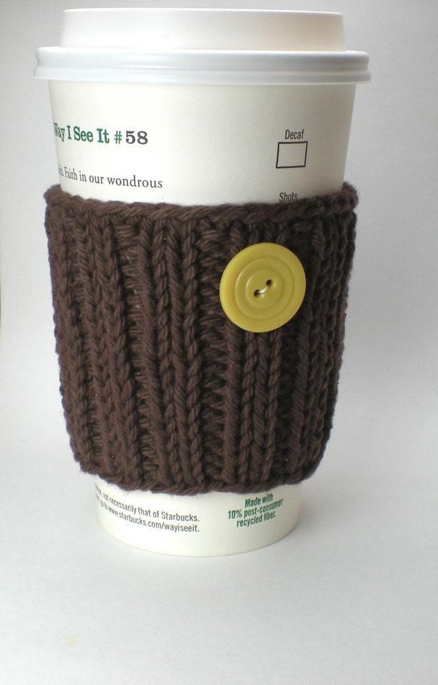 Dark Brown Cup Sleeve handmade knitted coffee cup cozy by onaroll