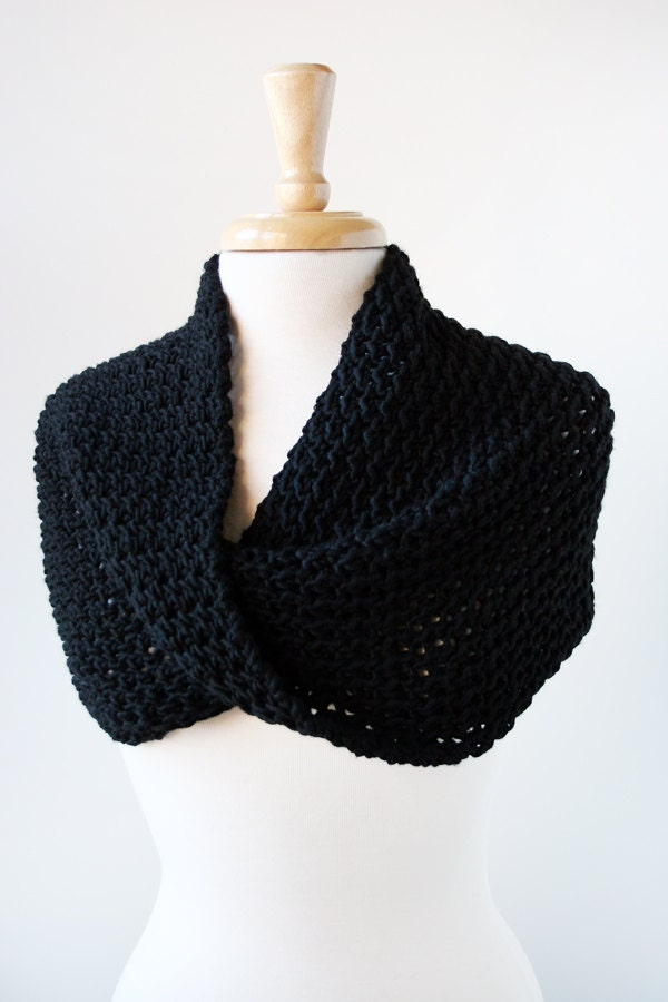 Merino Wool Knit Scarf or Shoulder Wrap - Infinity Scarf - Black - ElenaRosenberg