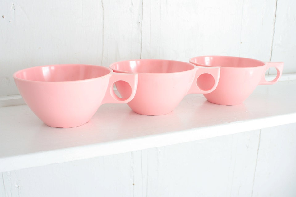 Vintage Pink Melmac Cups: Boonton Melamine Mugs