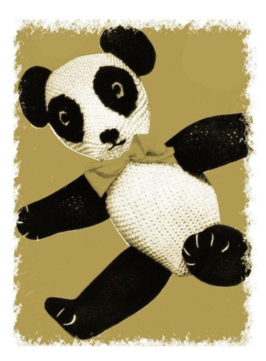 Panda Bear Knitting Pattern : Items similar to ViNTAGE ToY KniTTING PaTTERN TOY PANDA TeDDY BeAR ViNTAGE KN...