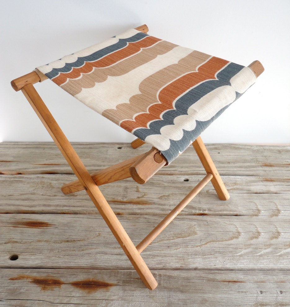 Retro Wooden Folding Camp Stool By Oceanswept On Etsy