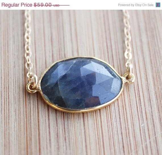 SALE Gold Blue Sapphire Necklace - Bezel Necklace - Something Blue - OhKuol
