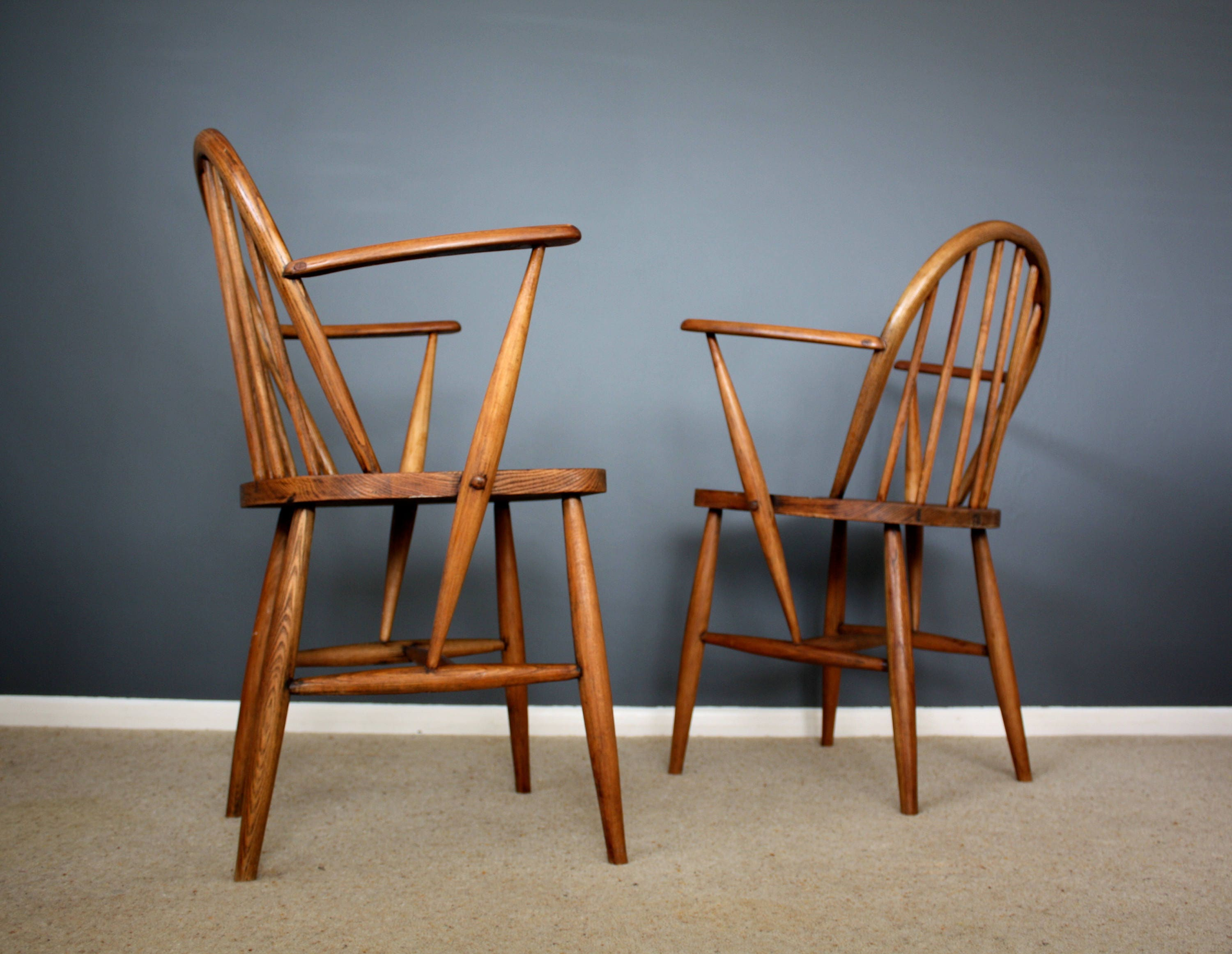 SOLD Rare Early Ercol Windsor Carver Chairs Mid Century Retro Vintage 40s 50s 60s 70s