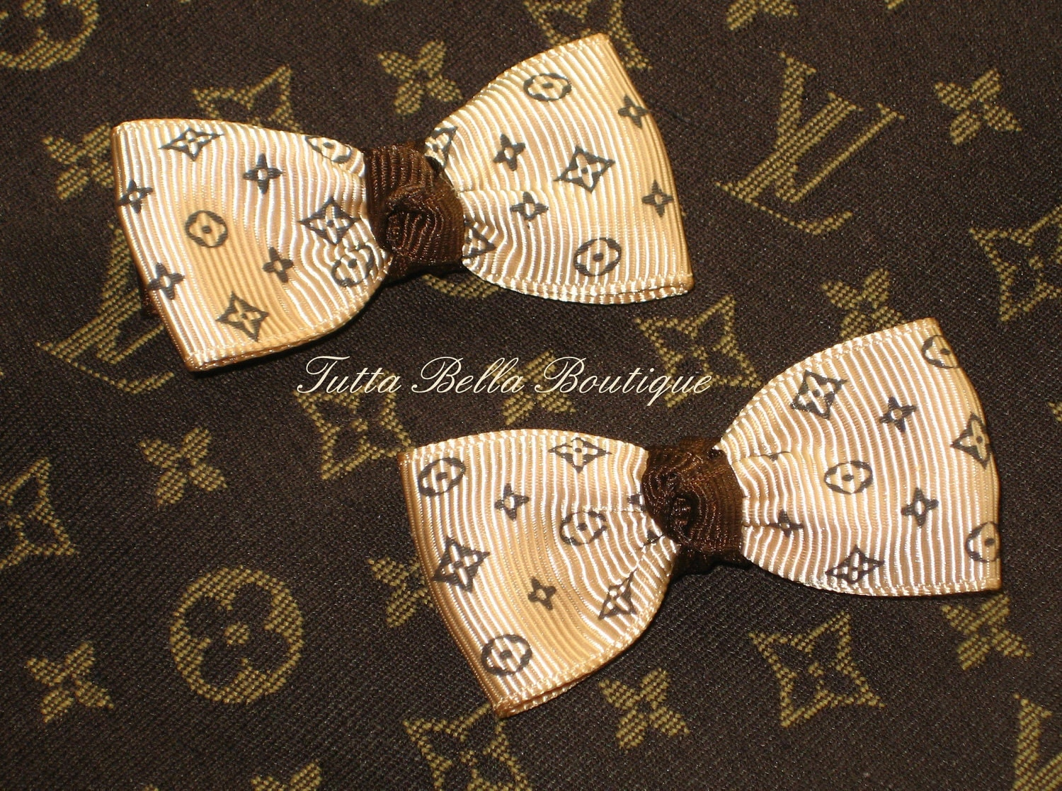 Louis Vuitton Inspired Hair Clips Mini Bow By