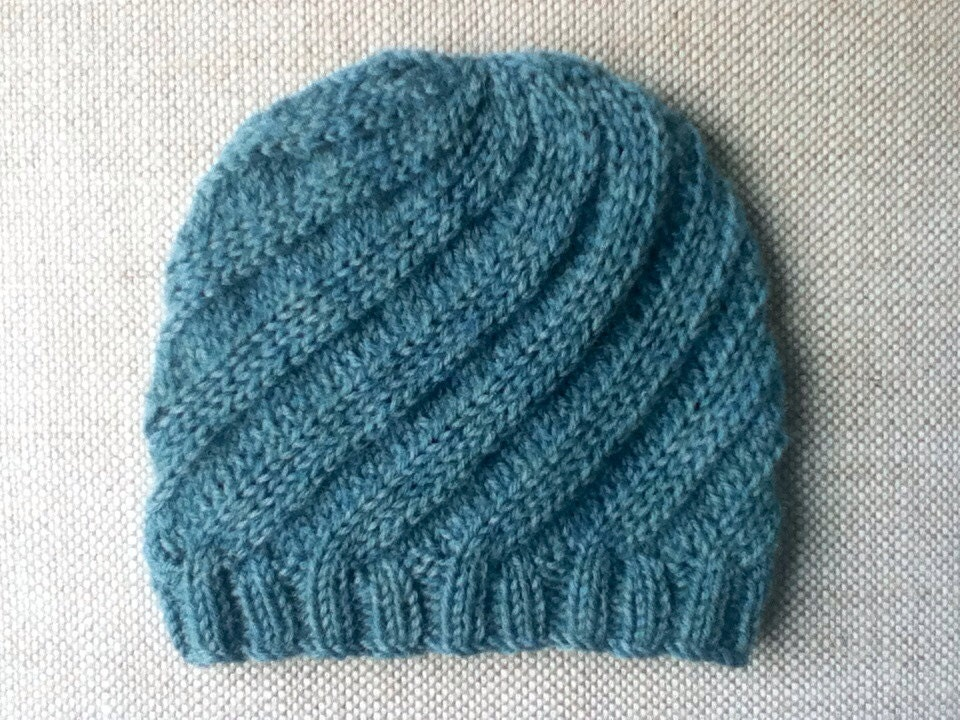 Hand Knit Baby Swirl Hat in Thirst Heather by KnitsieBitsie