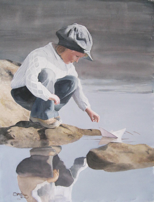 "An original watercolor by: Samuel Worley ""Paper Boat"" - worleystudios"