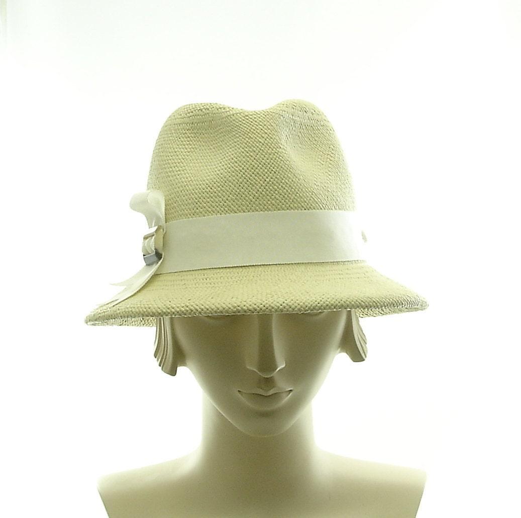 Light Green Vintage Style Womens Fedora - Panama Straw Hat - TheMillineryShop