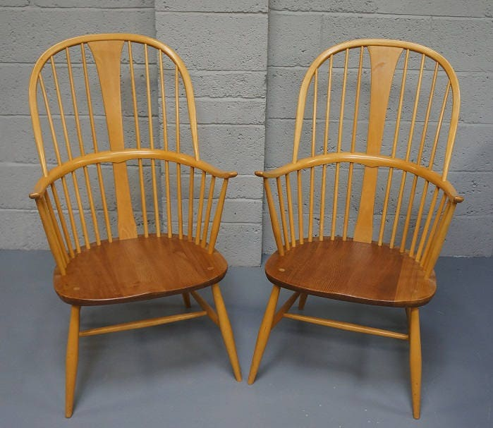 Vintage Pair of Ercol Elm Arm Chairs