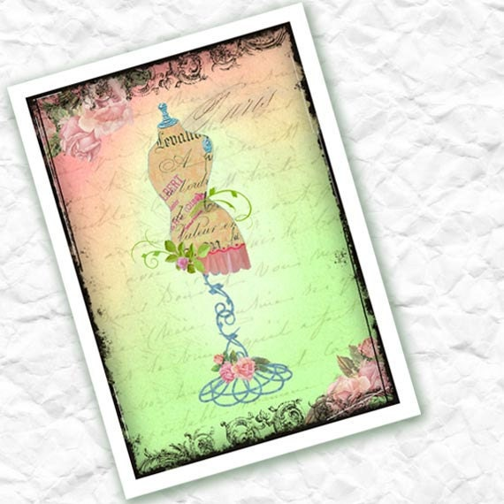 Vintage Dress Form Digital Collage Print