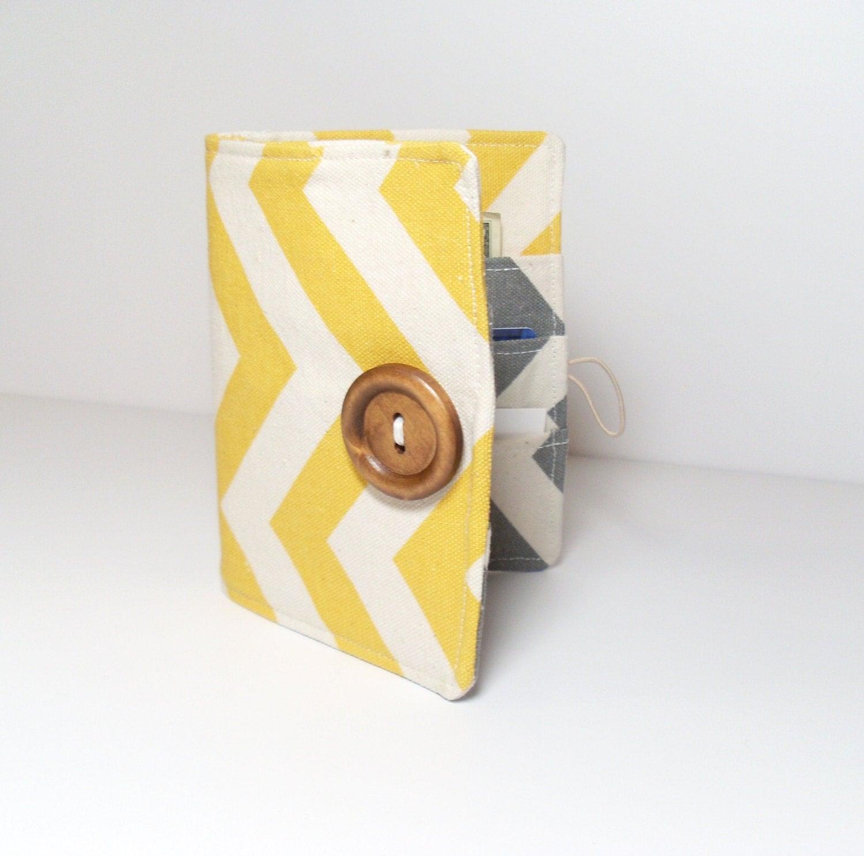 Business Card Holder - Wallet - Chevron - Yellow Gray - Organizer - jayciMay