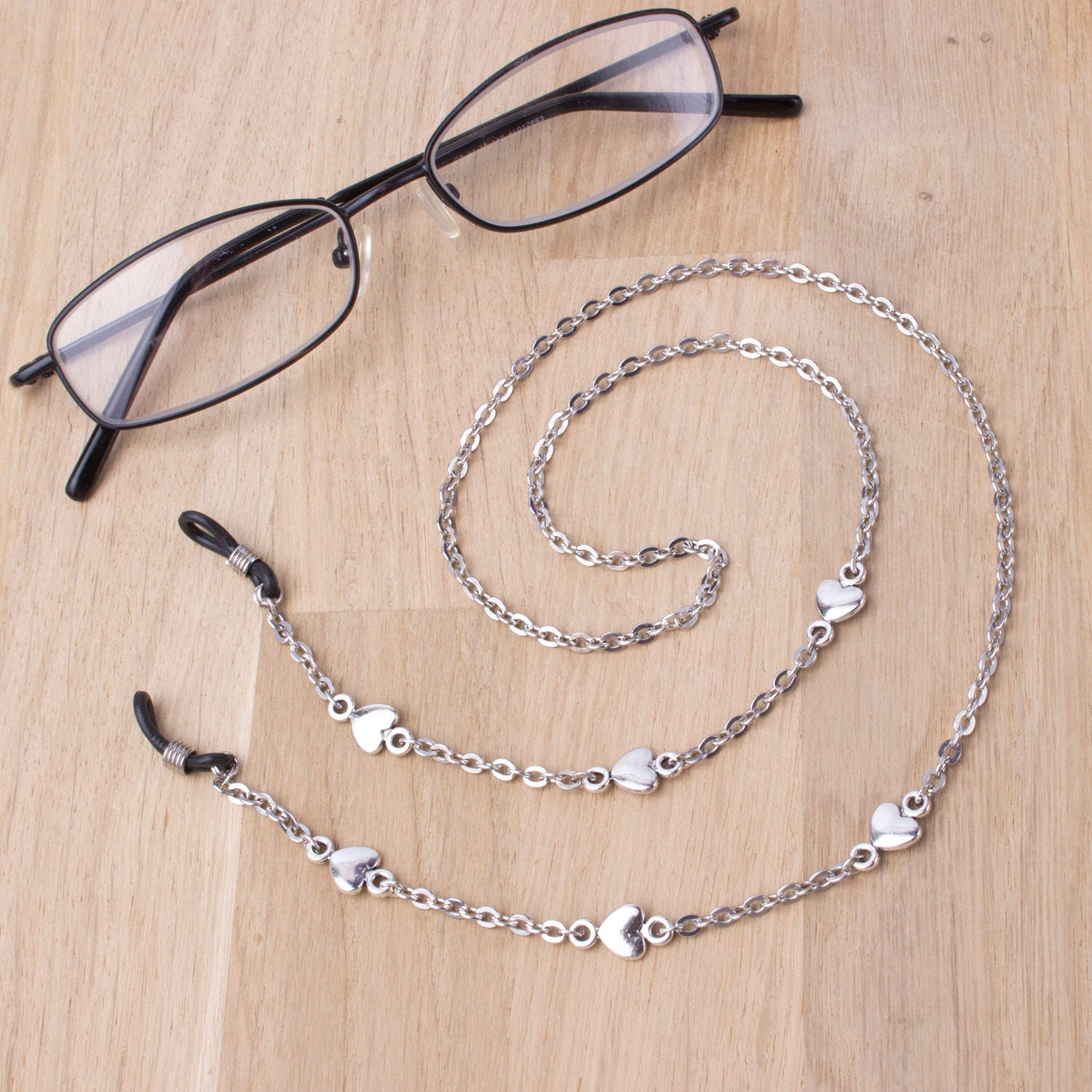 Silver eyeglasses lanyard  elegant heart link glasses chain  Everyday eyewear neck cord  Sunglasses chain  Eyeglasses holder