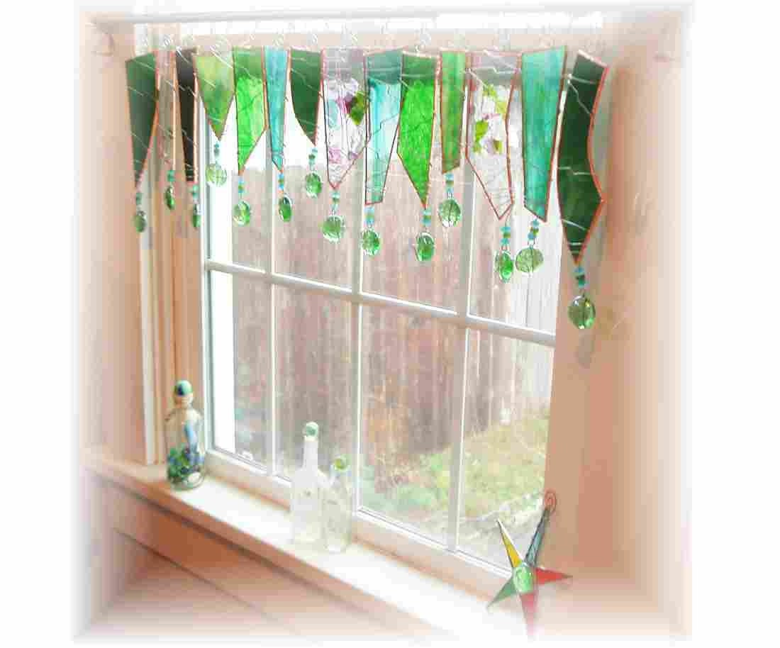 Forever Spring  Lush Green Chunky  Stained Glass Valance - LittleLaLaOriginals
