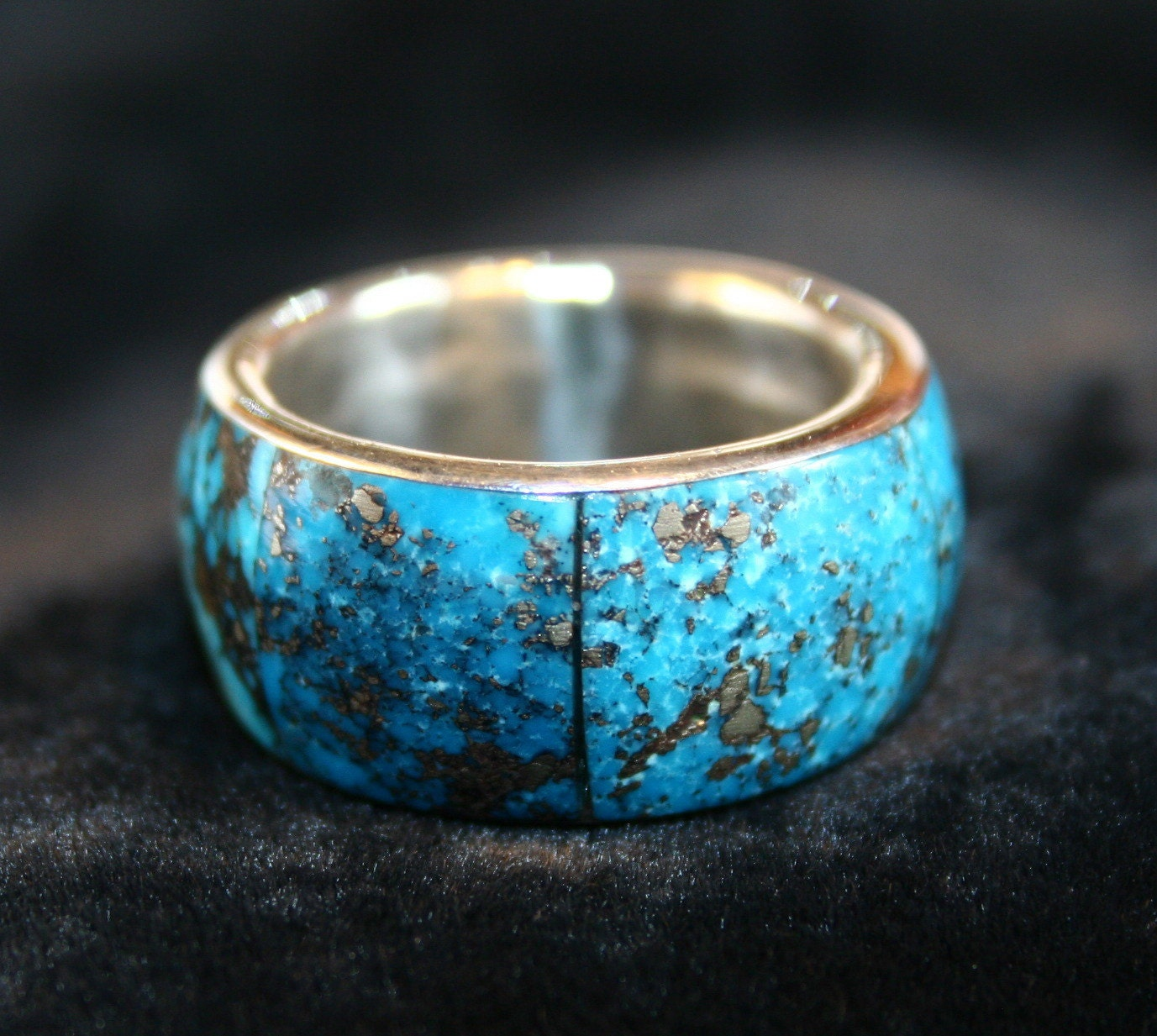 Vintage Native American Men 39s Turquoise Wedding Band From KeepItNostalgic