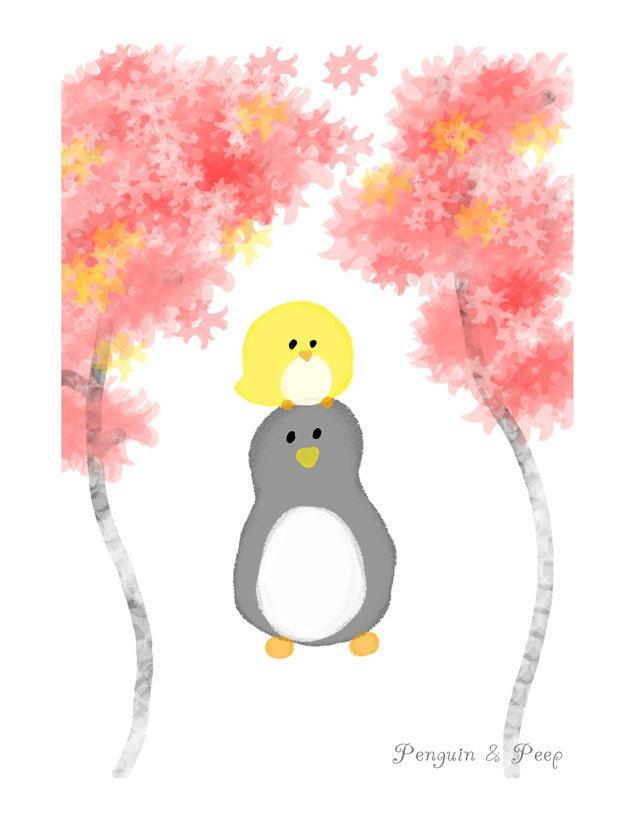 Friendship- Glossy Art Print (Penguin & Peep)