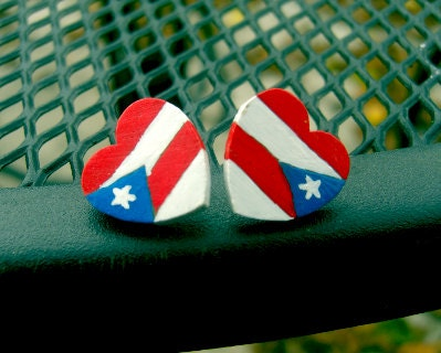 Puerto Rican flag colored heart shaped wooden post earrings
