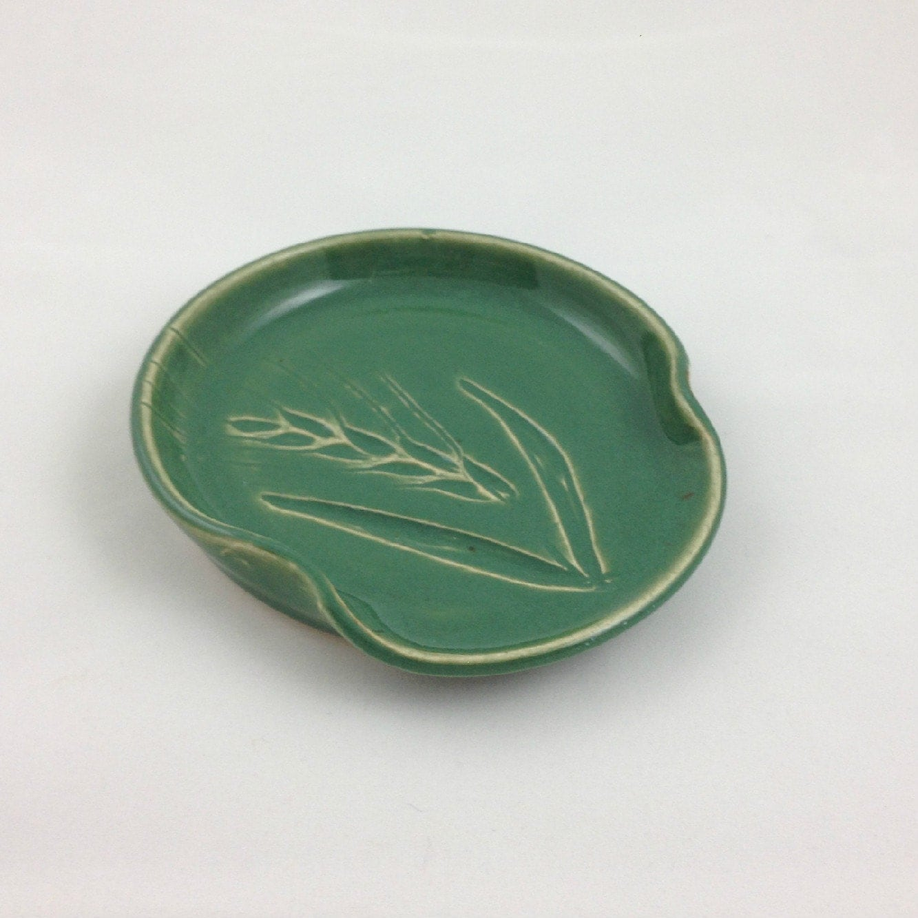 Wheat Spoon Rest Spring Green Pottery Handmade by Daisy Friesen