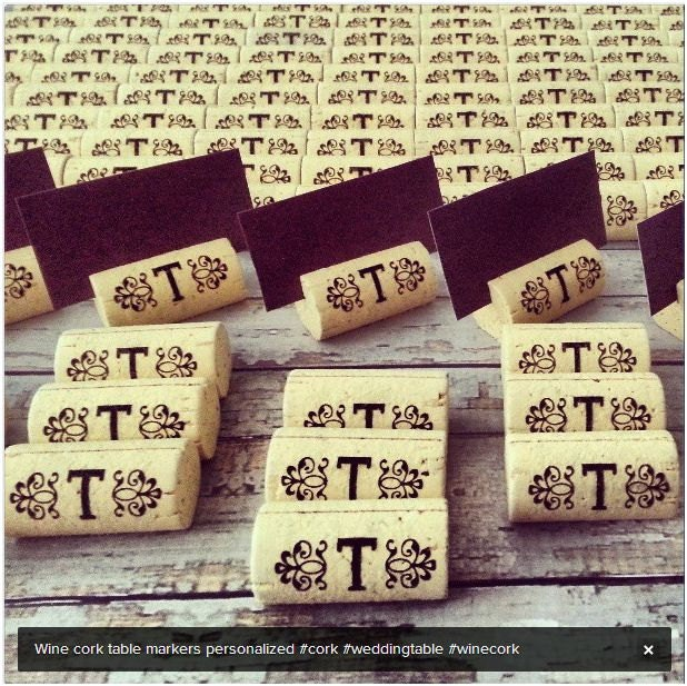 Wine Cork Place Card Holder Weddings Singles or Sets Personalized - PersonalizedGallery
