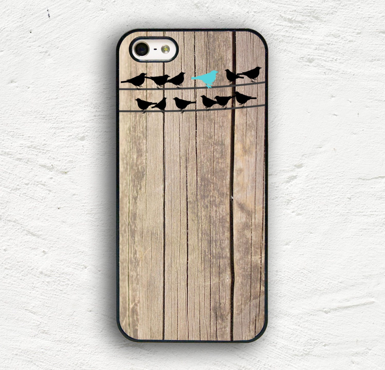 Birds on Wire Wood Print iPhone 7 Case iPhone 7 Plus Case iPhone 6s Case iPhone 6 Plus Case iPhone 5s iPhone 5 Case iPhone 5c Cover