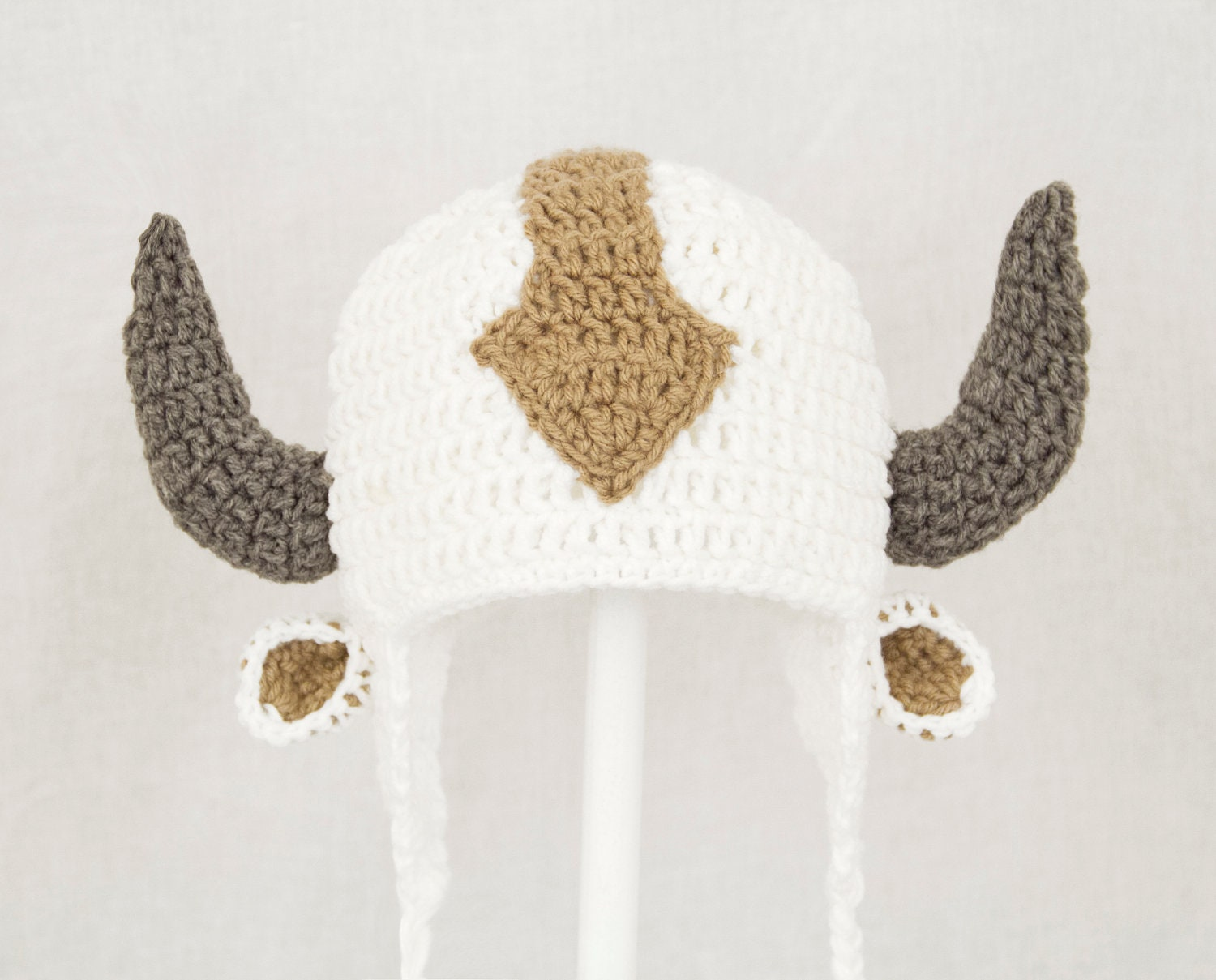 Appa the Flying Bison Earflap Hat from Avatar the Last Airbender, White Crochet Beanie, send size choice baby - adult - GeekinOut