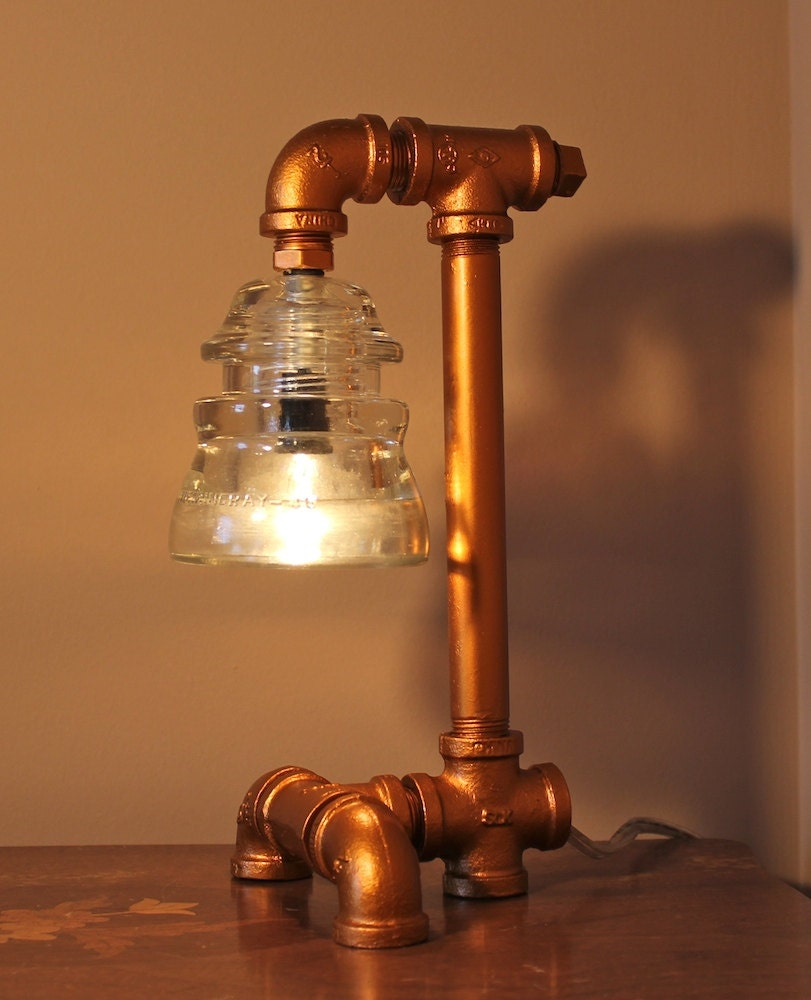 Pipe Lamp Industrial Lamp Urban Pipe Lamp By: Items Similar To Copper Colored Industrial Style Pipe Lamp