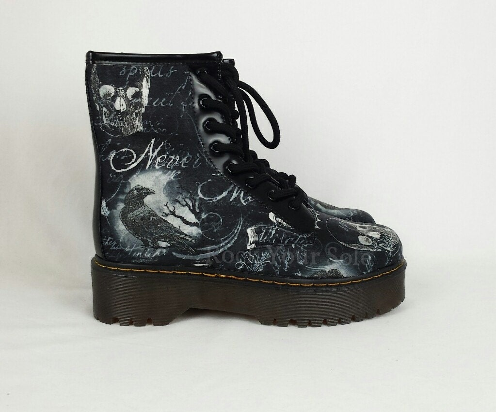 Gothic boots custom shoes crow shoes raven custom shoes skull boots steampunk women shoes alternative clothing rockabilly shoes goth