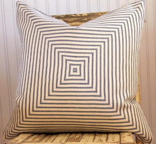 Blue Ticking Pillow Cover 18 x 18 Mitered squares