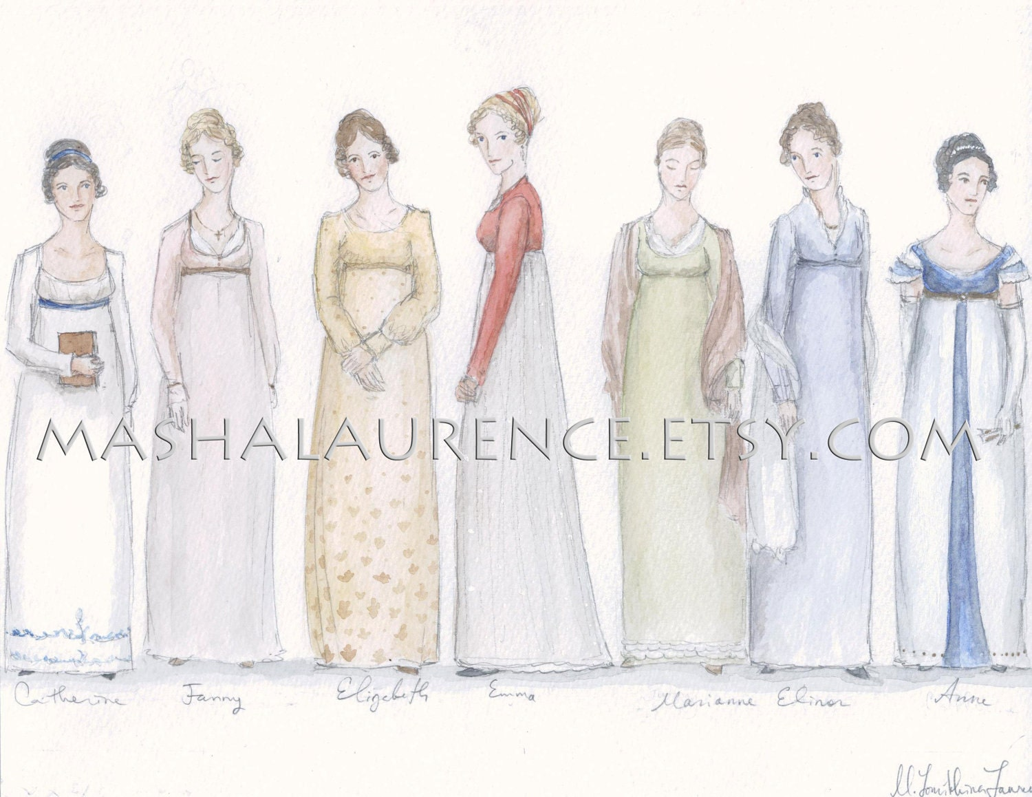 Jane Austen's Heroines 8x10 print. Pride and Prejudice. Persuasion. Northanger Abbey.  Emma.  Mansfield Park. S&S