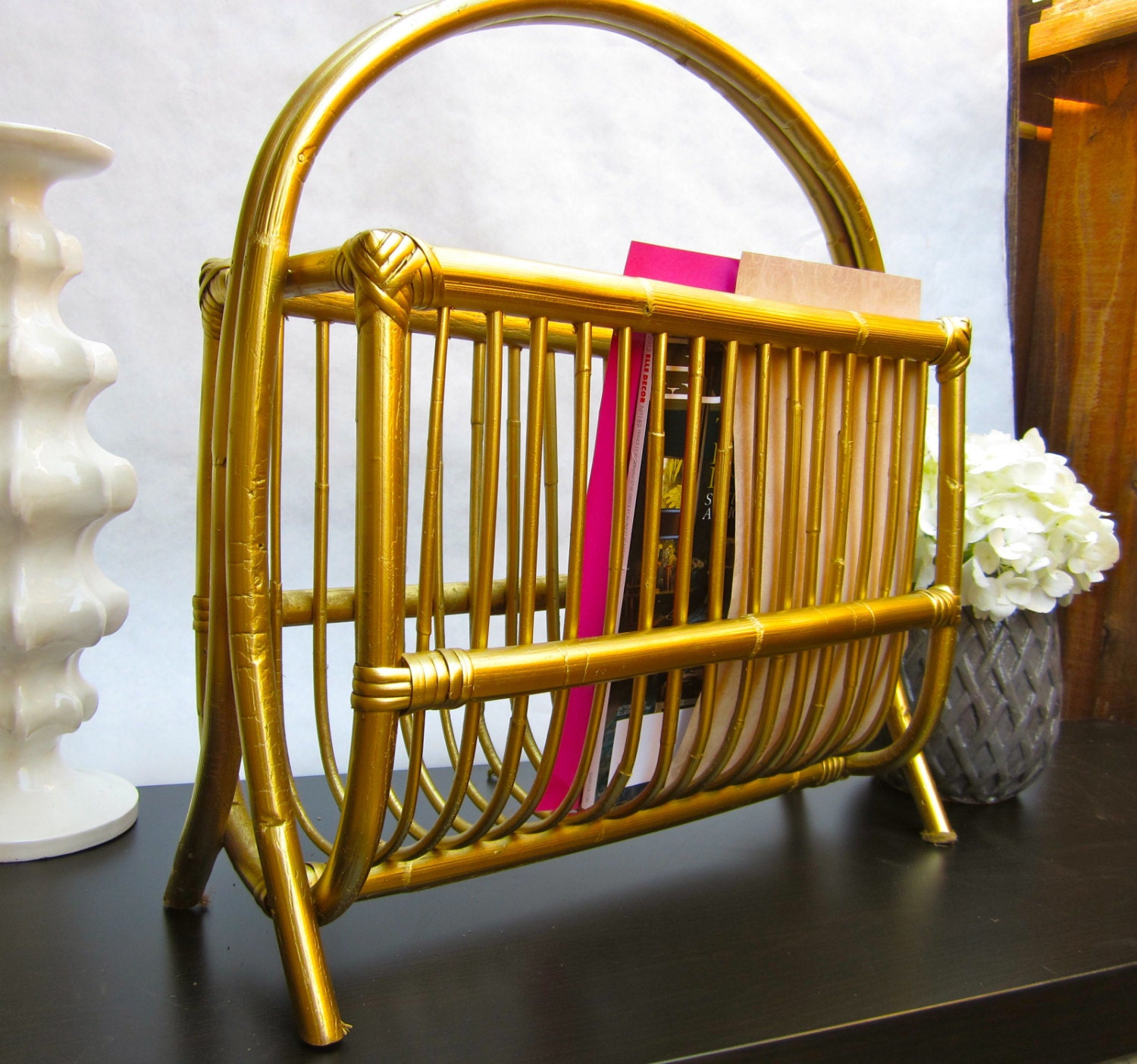 Gold Bamboo Magazine Rack Vintage - Mad Men - Retro Mid Century Gold Kitch 1950's 1960's
