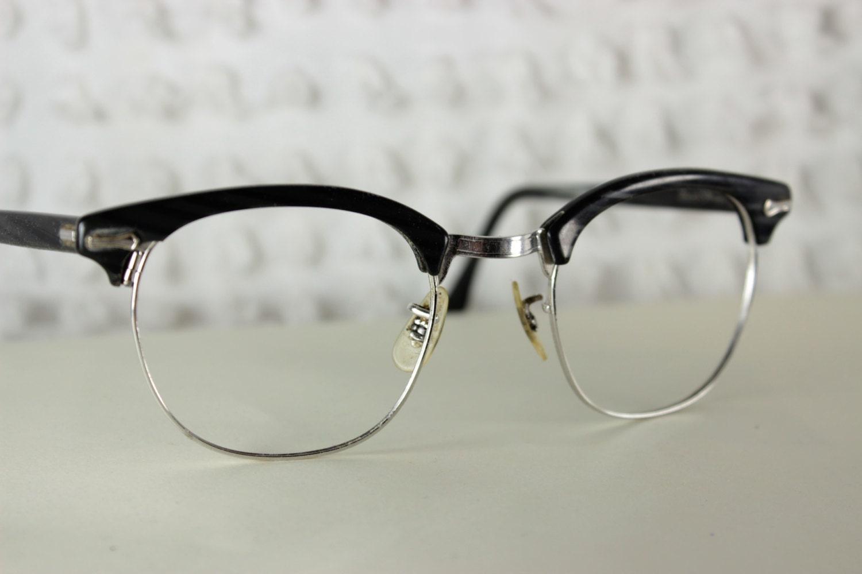 60s mens glasses 1960 s browline eyeglasses black by