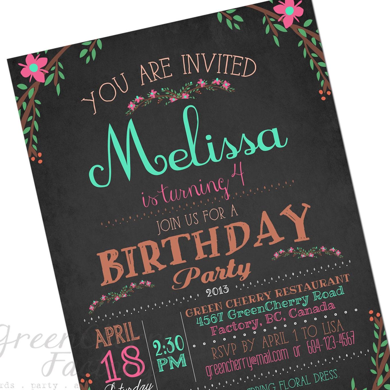 Items Similar To Hand Writing Birthday Invitation