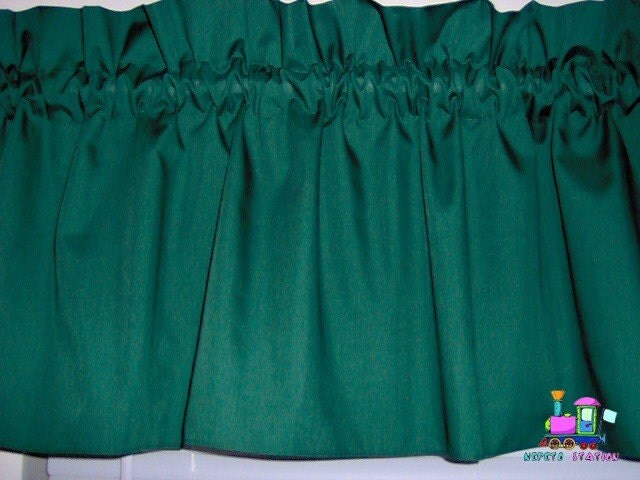 Items similar to forest hunter green valance curtain for Forest green curtains drapes