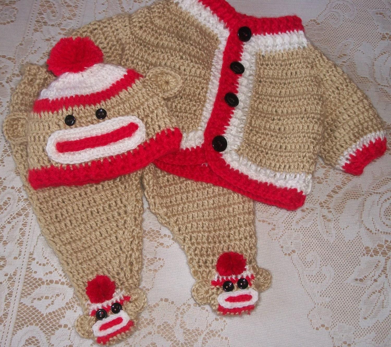 Free Crochet Pattern For Sock Monkey Pants : Crochet Sock Monkey Sweater Set and by MADEWITHLOVEBYSUZIEQ