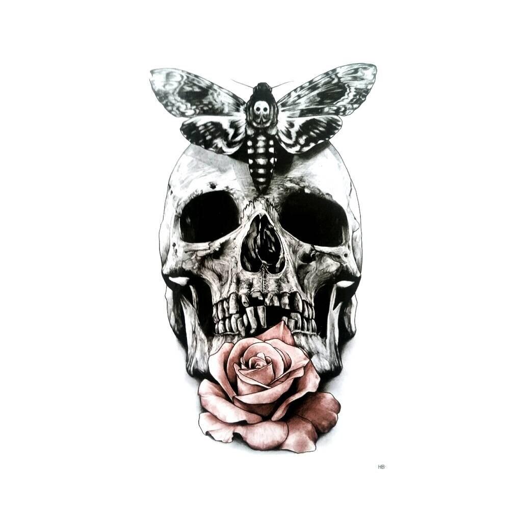 Тату череп с розой и бабочкой