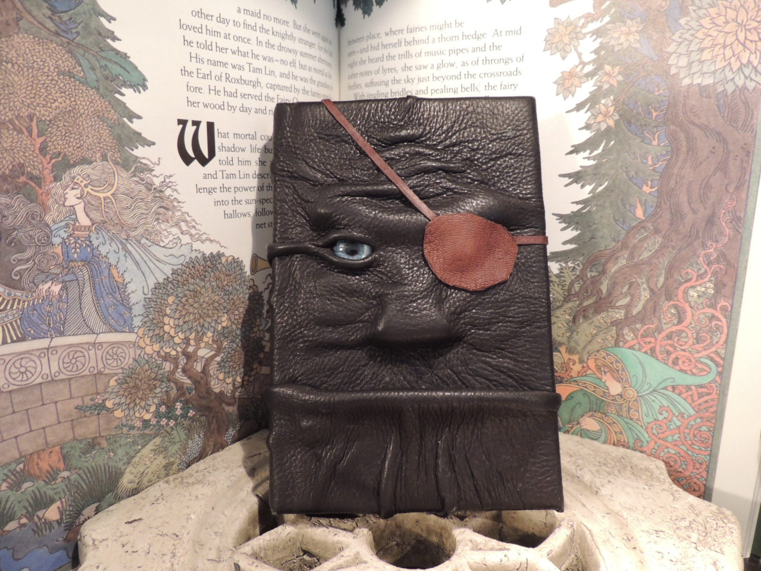 Mythical Beast Book (Pirate-black leather w/eye patch) - AbbotsHollowStudios