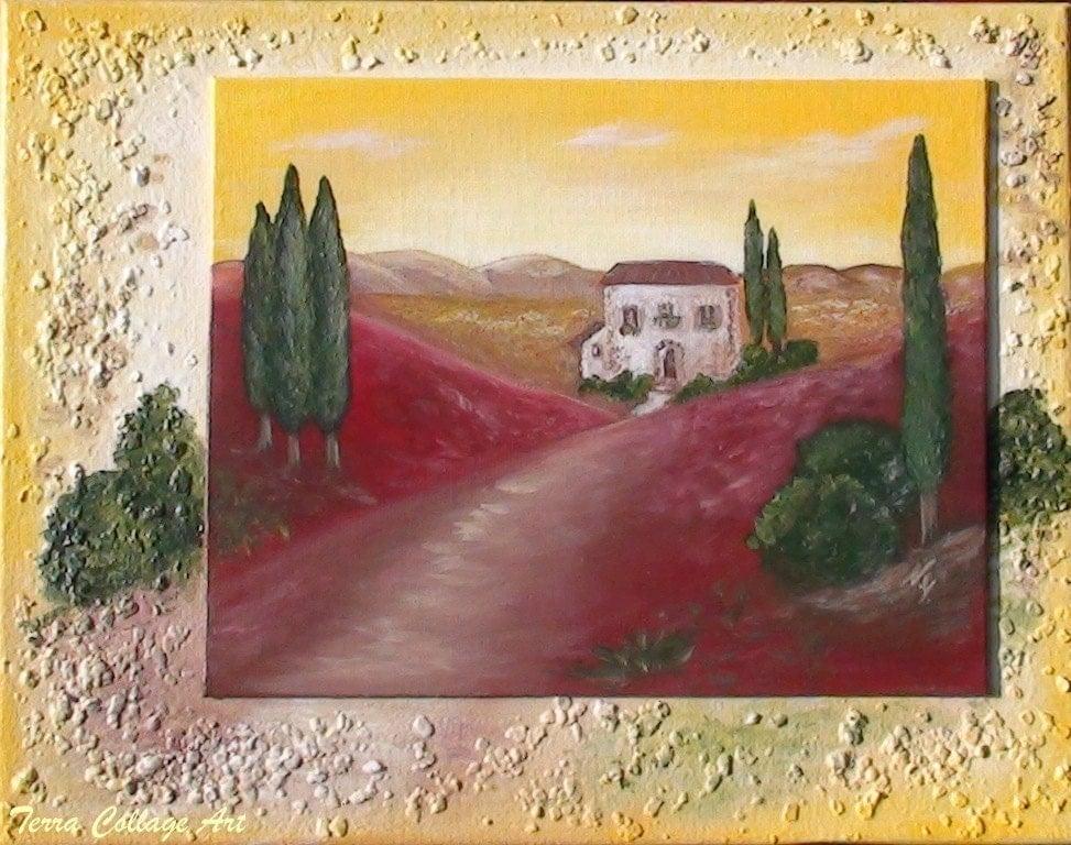 Тоскана Sunset.  Оригинальная картина Смешанные СМИ