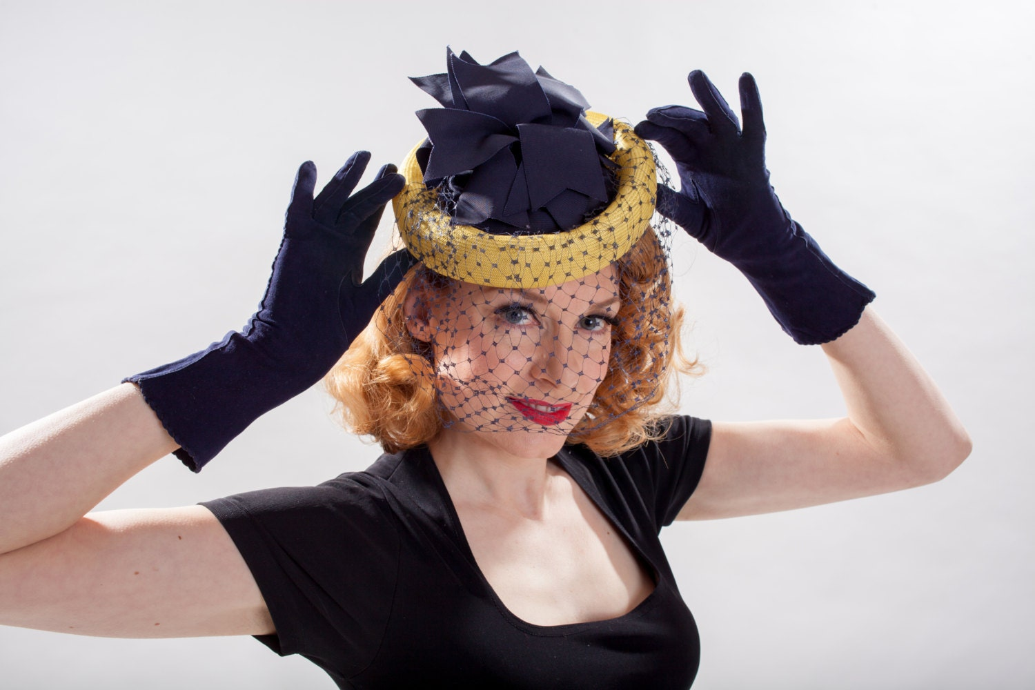 Vintage 1940s Pineapple Veil Hat  Navy Blue Yellow  Spring Fashions $98.00 AT vintagedancer.com