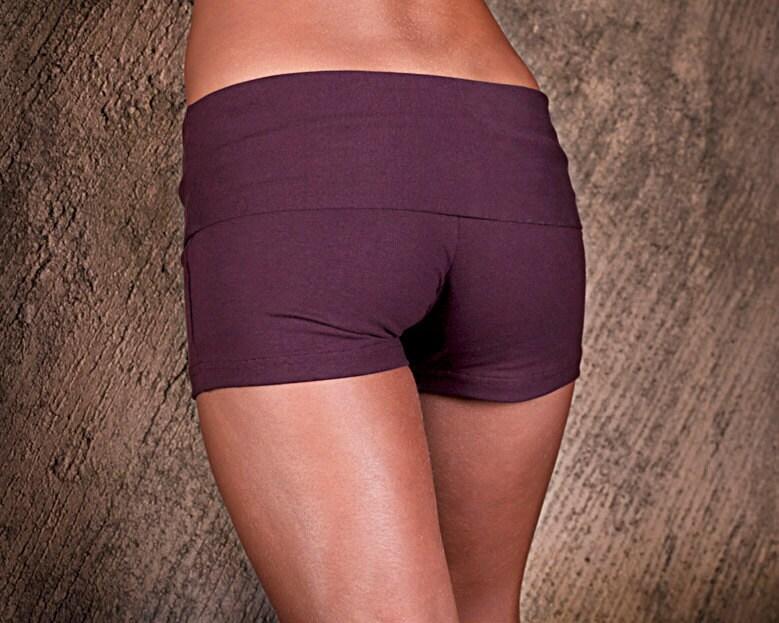 Womens Shorts - Yoga Shorts - Hot Pants - Yoga Clothing - Activewear - Organic Cotton Shorts Plum - eleven44
