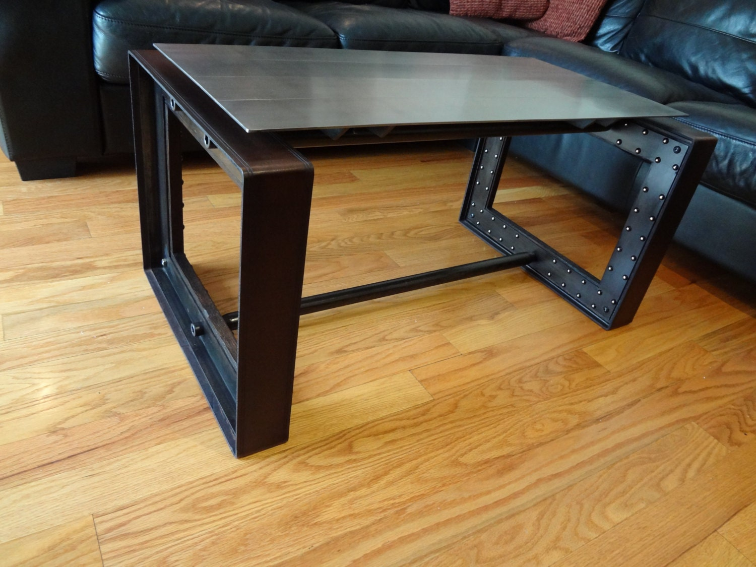 items similar to urban industrial luxe coffee table base steel leather urban furniture table. Black Bedroom Furniture Sets. Home Design Ideas