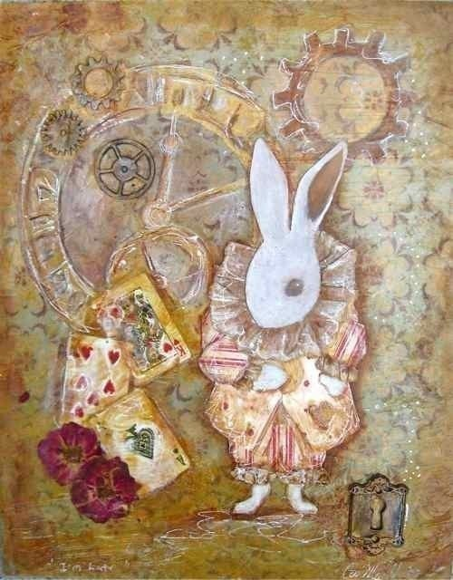 Items similar to I'm Late, Alice in Wonderland White ...