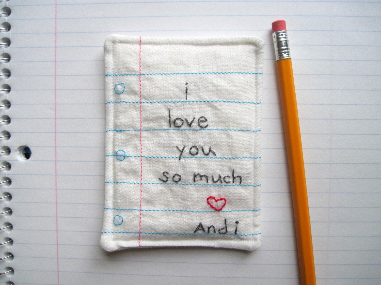 PERSONALIZED Love Note Hand Embroidered With Your Message, Eco Friendly Materials
