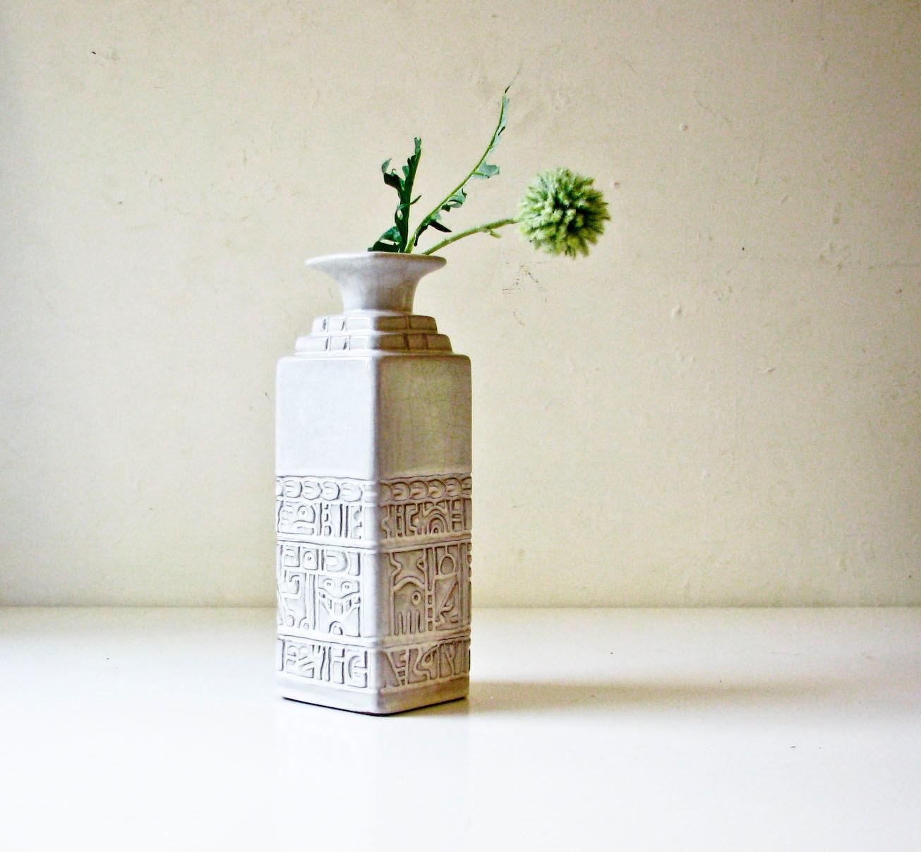 Mid Century Modern White Vase Frankoma by BeeJayKay on Etsy