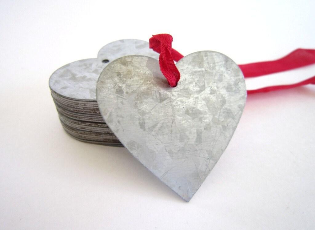 Valentine Heart -1 Tin Heart Tags - Tin Heart Ornaments Zinc Heart Tags Wedding decor valentines gifts wedding favor valentine decorations