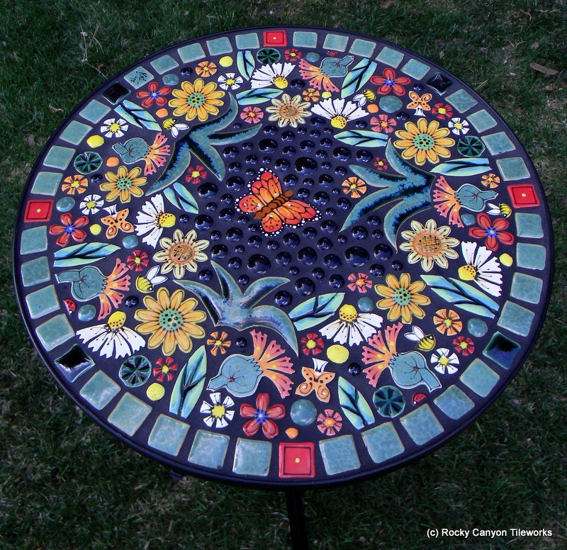 Handmade Mosaic Table 16 Round By Rockycanyontileworks On Etsy