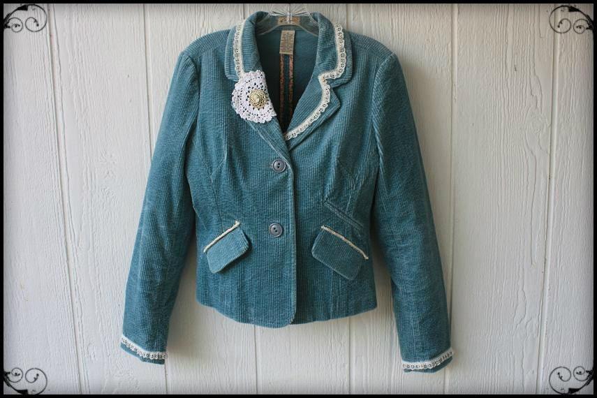 Baby Blue Corduroy Ladies Repurposed Jacket Blazer - AVictorianRevolution