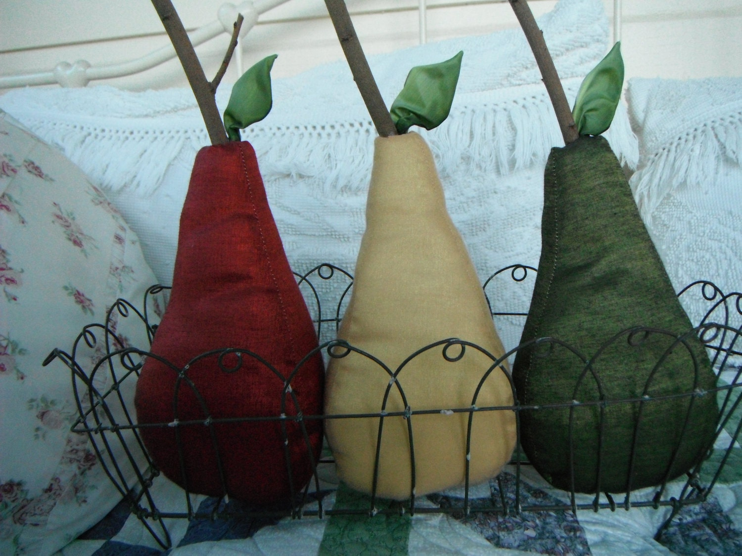 Country home decor pears fabric rustic primitive by Pear home decor