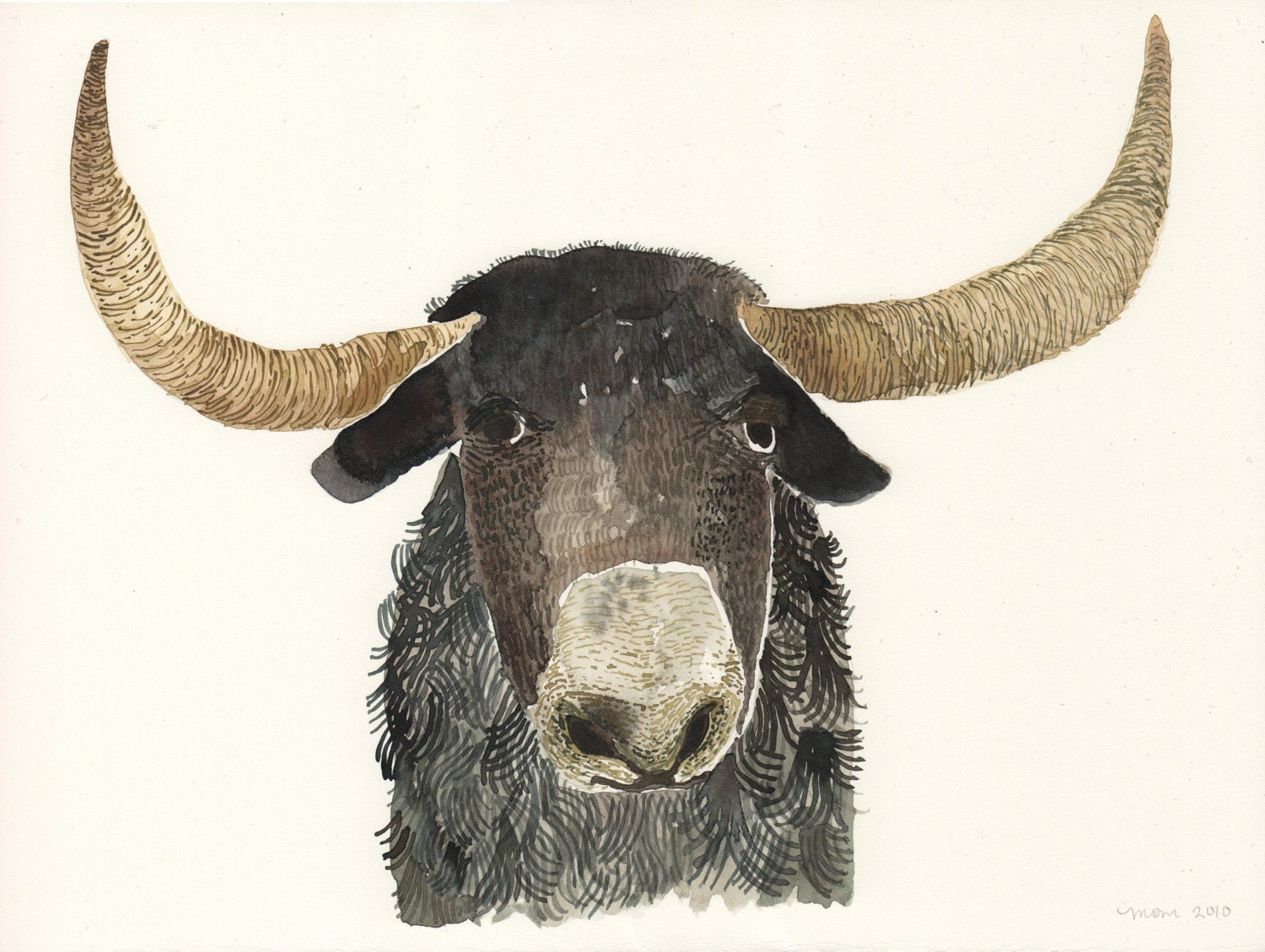 Single Ram - Original watercolor painting